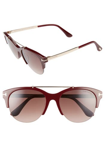 Tom Ford Adrenne 55Mm Sunglasses - Burgundy/ Rose Gold/ Burgundy