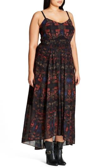 Plus Size City Chic Aztec Warrior Smocked Waist Maxi Dress