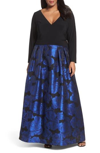 Plus Size Xscape Evenings Brocade Gown, Black