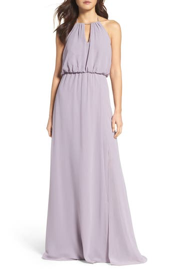 Wtoo Keyhole Halter Chiffon Gown, Purple
