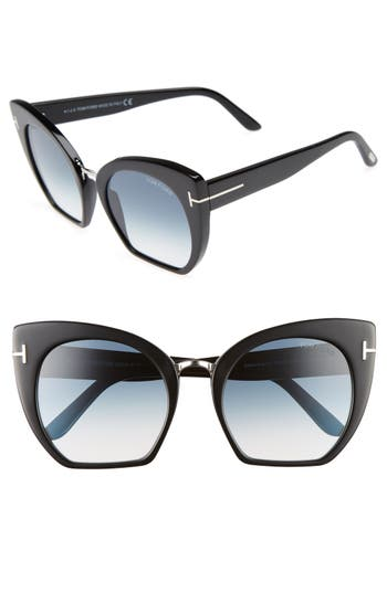 Tom Ford Samantha 55Mm Sunglasses - Shiny Black/ Gradient Blue