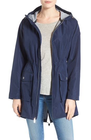 Women's Michael Michael Kors Hooded Raincoat, Size X-Small - Blue