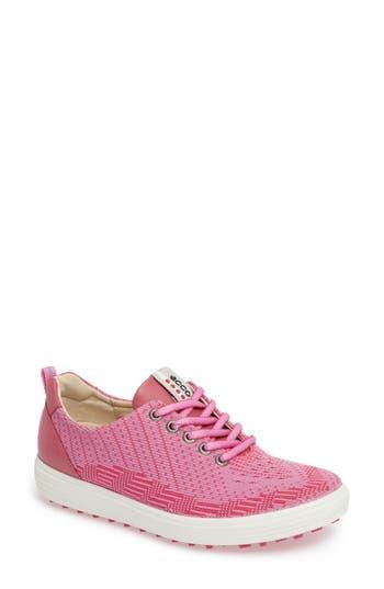 Ecco Casual Hybrid Knit Golf Sneaker, Pink