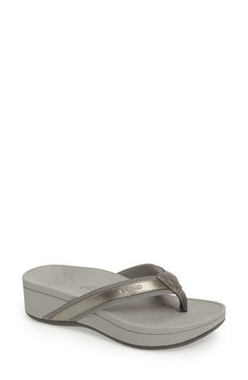 Vionic High Tide Wedge Flip Flop, Grey