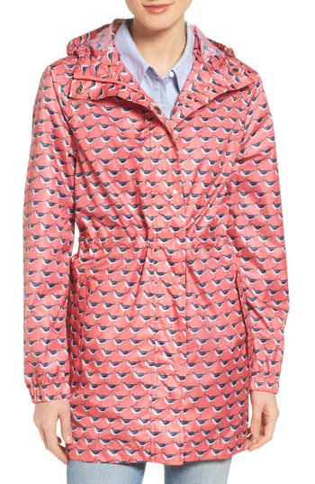 Women's Joules Right As Rain Packable Print Hooded Raincoat, Size 6 - Coral
