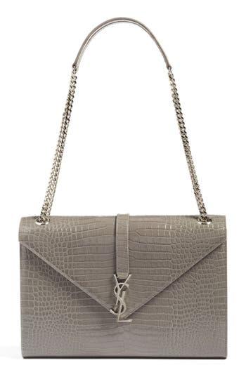 Saint Laurent Large Monogram Leather Shoulder Bag - Grey