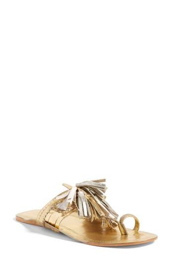 Women's Figue Scaramouch Tassel Sandal, Size 5 - Metallic