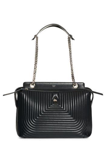 Fendi Dotcom Quilted Lambskin Leather Shoulder Bag - Black