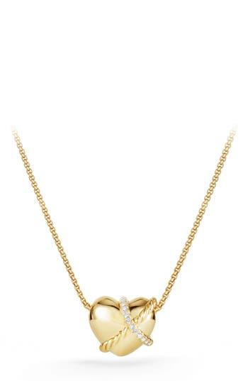 Women's David Yurman Heart Pendant Necklace In 18K Gold With Diamonds