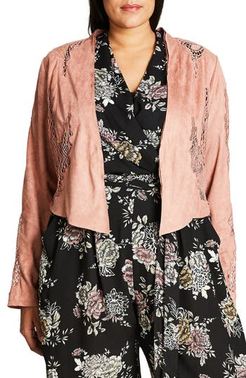Plus Size Women's City Chic Lace Crop Jacket, Size X-Small - Brown