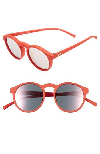 Le Specs Cubanos 47Mm Round Sunglasses - Firecracker Rubber