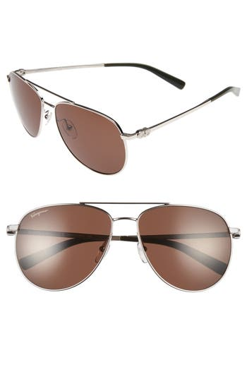 Men's Salvatore Ferragamo Gancio 60Mm Aviator Sunglasses -