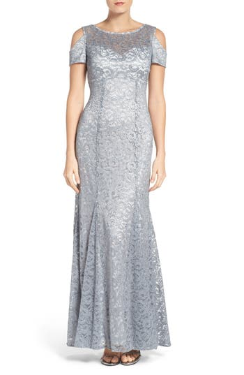 Morgan & Co. Cold Shoulder Lace Gown, /2 - Grey
