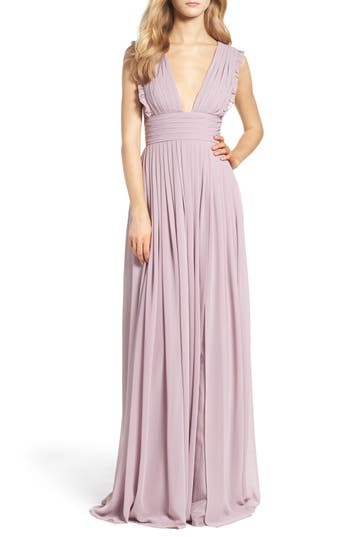 Monique Lhuillier Bridesmaids Deep V-Neck Ruffle Pleat Chiffon Gown, Purple