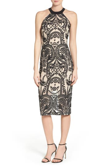 Eci Mesh Halter Midi Dress