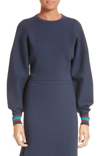 Women's Tibi Stripe Trim Crop Sweatshirt