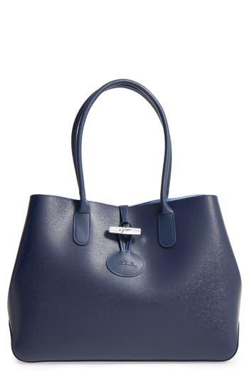 Longchamp Roseau Leather Shoulder Tote - Blue