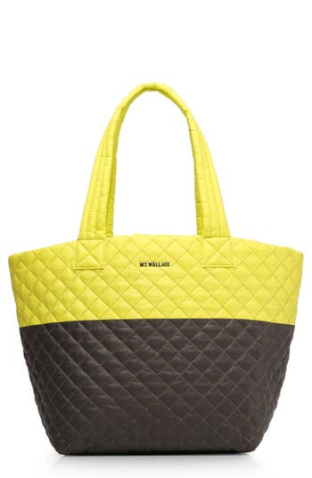 Mz Wallace 'Medium Metro' Quilted Oxford Nylon Tote - Yellow at NORDSTROM.com