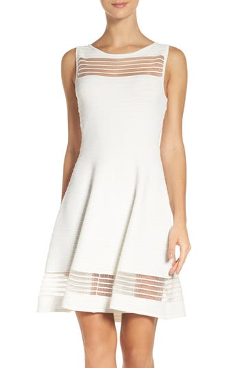 French Connection Tobey Crepe Fit & Flare Dress, White