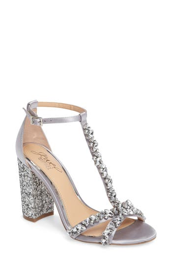 Jewel Badgley Mischka Carver Block Heel Sandal- Metallic