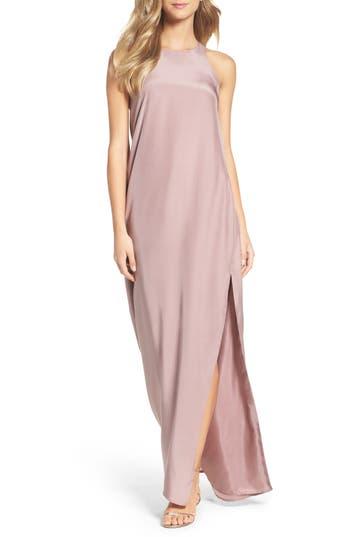 Natalie Deayala Silk Column Gown, Purple