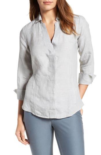 Petite Foxcroft Linen Chambray Shirt, Grey