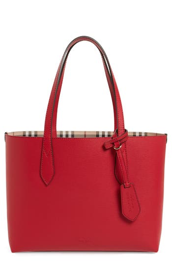 Burberry Small Lavenby Reversible Tote - Red