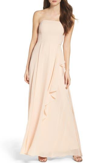 Lulus Chiffon Strapless Maxi Dress, Pink