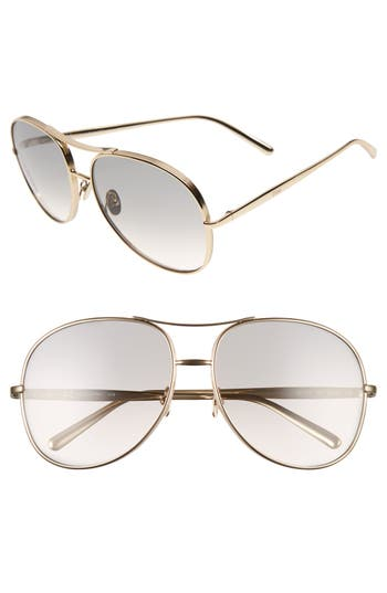 Women's Chloé 61Mm Oversize Sunglasses - Gold/ Light Grey