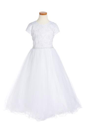 Girl's Joan Calabrese For Mon Cheri Floral Appliqué First Communion Dress