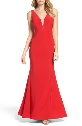 Xscape Mermaid Gown, Red