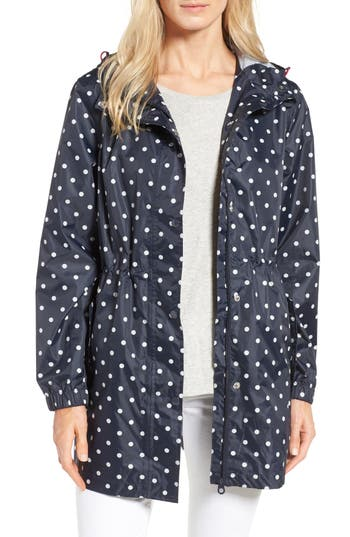 Women's Joules Right As Rain Packable Print Hooded Raincoat, Size 10 - Blue