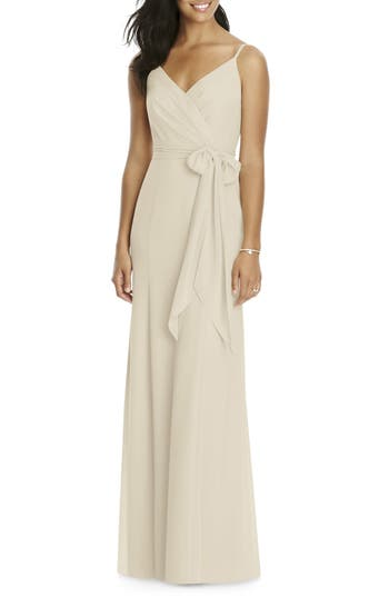 Social Bridesmaids Faux Wrap Gown, Beige
