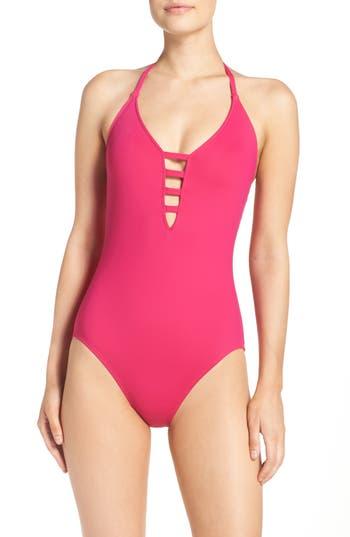 La Blanca Caged Strap One-Piece Swimsuit, Purple