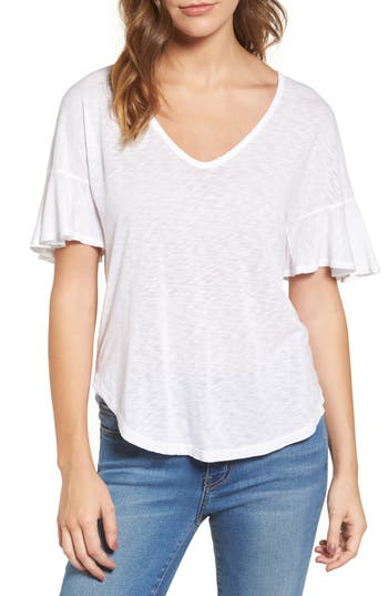 Splendid Ruffle Sleeve Tee, White