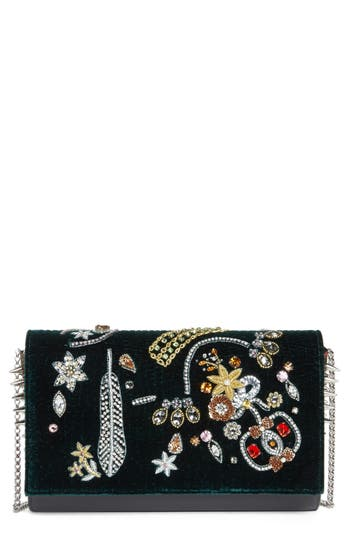 Christian Louboutin Paloma Embellished Velvet Clutch -