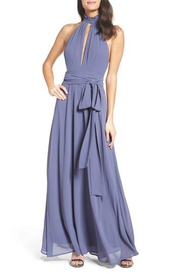 Lulus Ruffle Neck Halter Gown, Blue