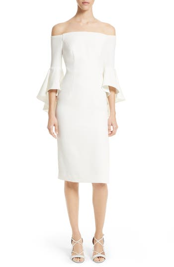 Milly Selena Off The Shoulder Midi Dress, White