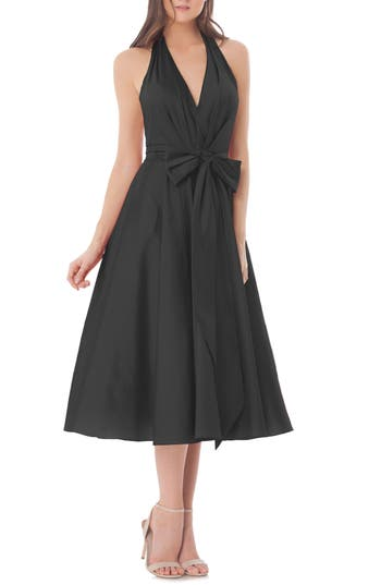 Carmen Marc Valvo Infusion Halter Fit & Flare Dress, Black
