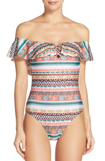 Becca Tapestry Off The Shoulder One-Piece Swimsuit, Orange