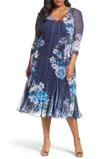 Plus Size Komarov Print Chiffon & Lace Midi Dress, Blue