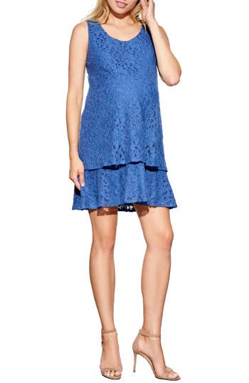 Maternal America Tiered Lace Maternity Dress
