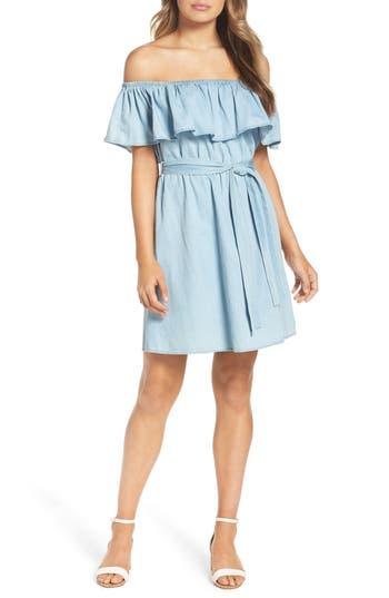 Bardot Asha Off The Shoulder Dress, Blue