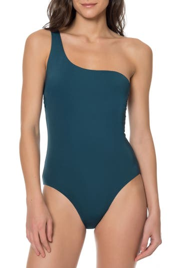 Red Carter One-Shoulder One-Piece Swimsuit, Blue/green