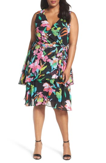 Plus Size Women's Tahari Faux Wrap Dress
