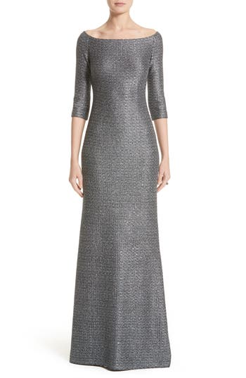 St. John Collection Sequin Knit Off The Shoulder Gown