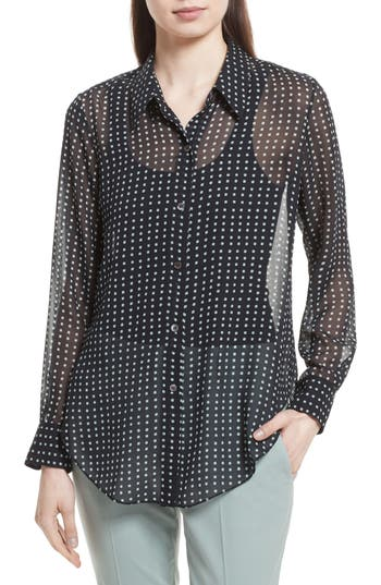 Women's Theory Sunaya Square Silk Chiffon Shirt