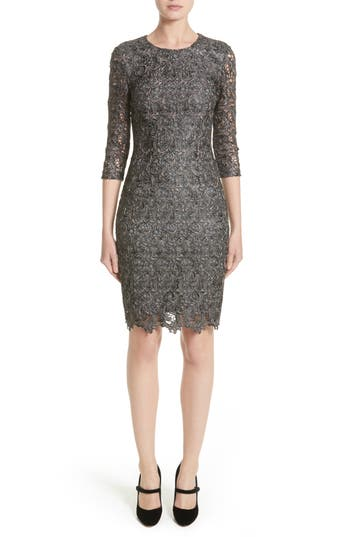 St. John Collection Plume Embroidered Lace Dress, Grey