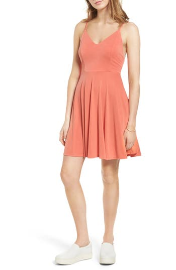 Soprano Cross Back Fit & Flare Dress, Pink