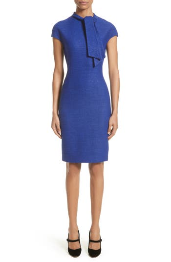 St. John Collection Sheen Tape Knit Tie Neck Dress, Blue